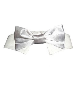 Pooch Outfitter Pooch Outfitters Silver Satin Bow Tie