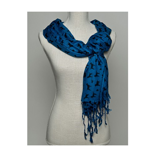 "100% Rayon Scarf Printed Dog Breeds"" Blue/Black 28x72"""