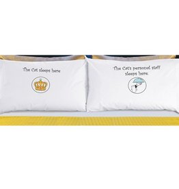 """DogSnorz """"The Cat Sleeps Here"""" Pillowcase"""