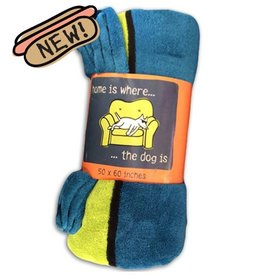 """Teddy the Dog Plush Throw Blanket """"Home is Where the Dog Is"""" 50""""x60"""""""