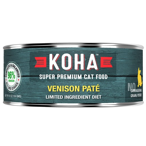 Koha Cat Can 96% Venison Pate 5.5oz