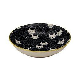 Ore Ore Whisker Cat Shallow Bowl Black
