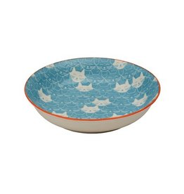 Ore Ore Whisker Cat Shallow Bowl Blue
