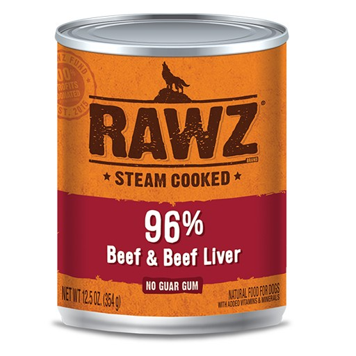 Rawz Dog Can 96% Beef & Beef Liver 12oz