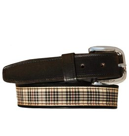 Tory Leathers Equestrian Plaid Belt