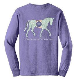 Equestrian Prep Eq Prep Preppy Pattern Horse Long Sleeve Tee