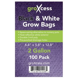 groXcess GroXcess Black and White Grow Bags 2 gal 100 Pack