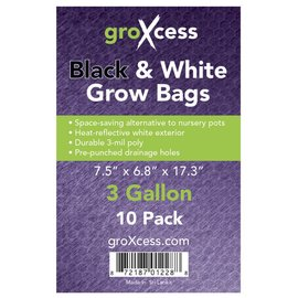 groXcess GroXcess Black and White Grow Bags 3 gal 10 Pack