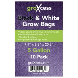 groXcess GroXcess Black and White Grow Bags 5 gal 10 Pack