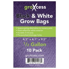 groXcess GroXcess Black & White Grow Bags, 1/2 gal, 10 Pack