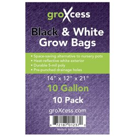 groXcess GroXcess Black & White Grow Bags, 10 gal, 10 Pack