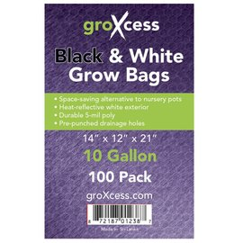 groXcess GroXcess Black & White Grow Bags, 10 gal, 100 Pack