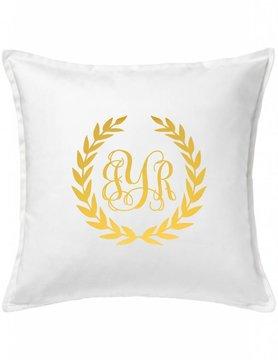 Custom Pillow-10A-Monogram Wreath