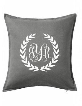 Custom Pillow-10B-Monogram Wreath