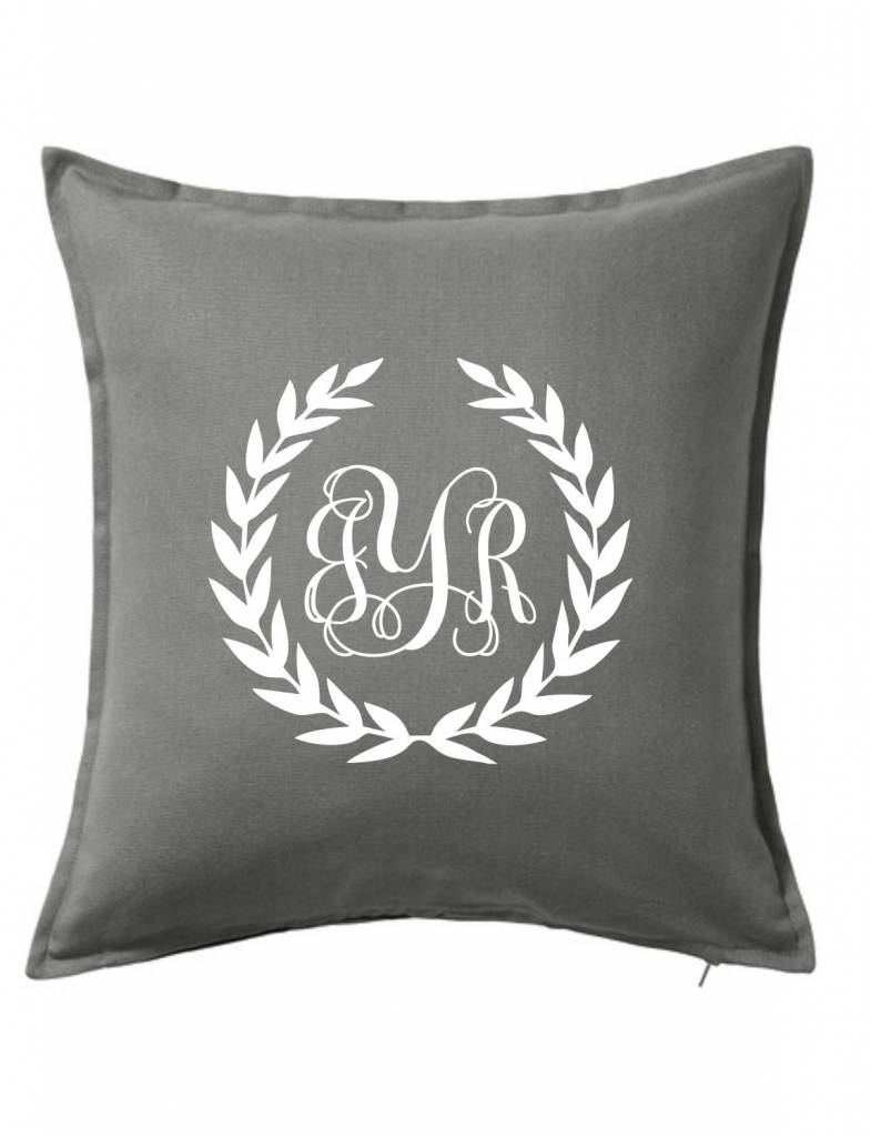 Gray Custom Pillow-10B-Monogram Wreath