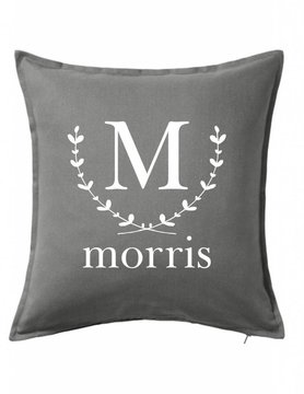 Gray Custom Pillow-20B-Wreath Initial and Name
