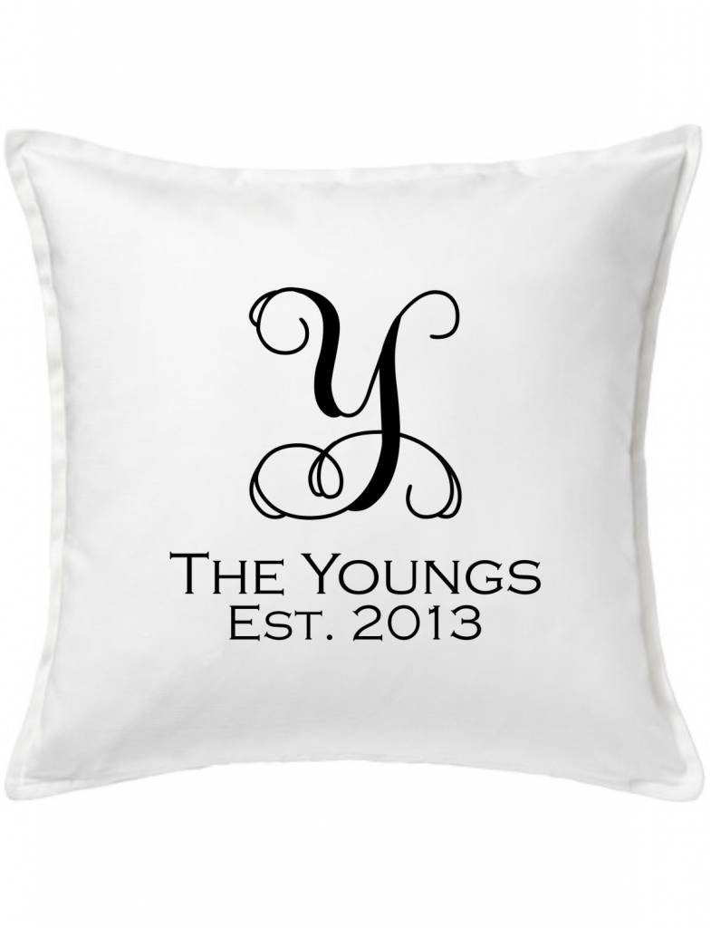 White Custom Pillow-27A-Vine Name