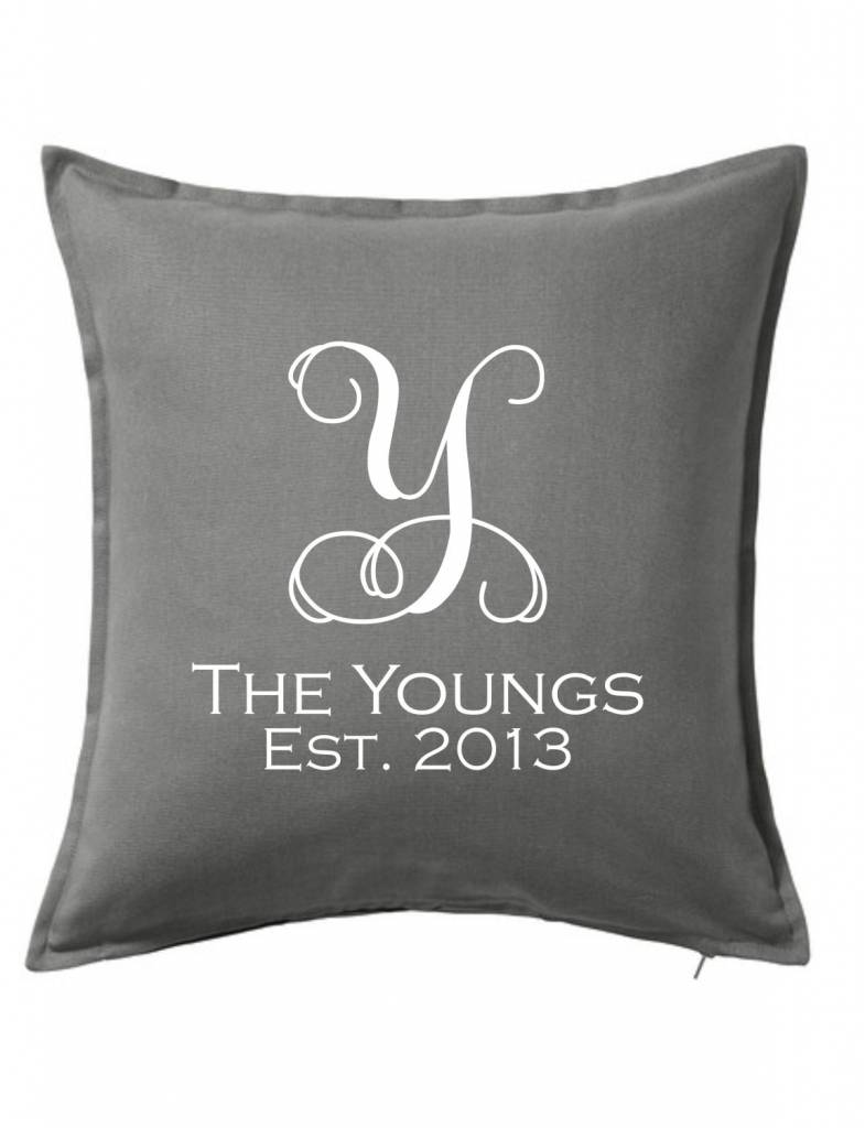 Gray Custom Pillow-27B-Vine Name