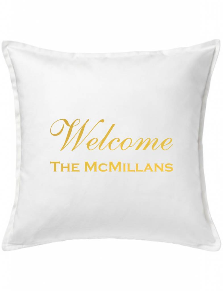 White Custom Pillow-30A-Welcome