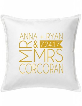 White Custom Pillow-37A-Mr. & Mrs.