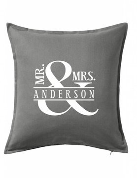 Gray Custom Pillow-44B-Mr. & Mrs. Ampersand