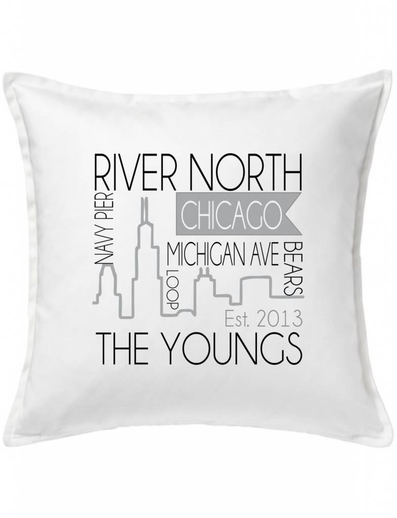 White Custom Pillow-53-Chicago Skyline