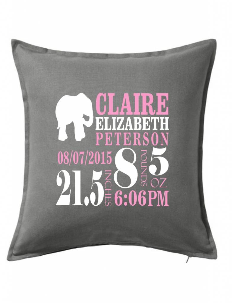 Gray Custom Pillow-66D-Elephant Announcement