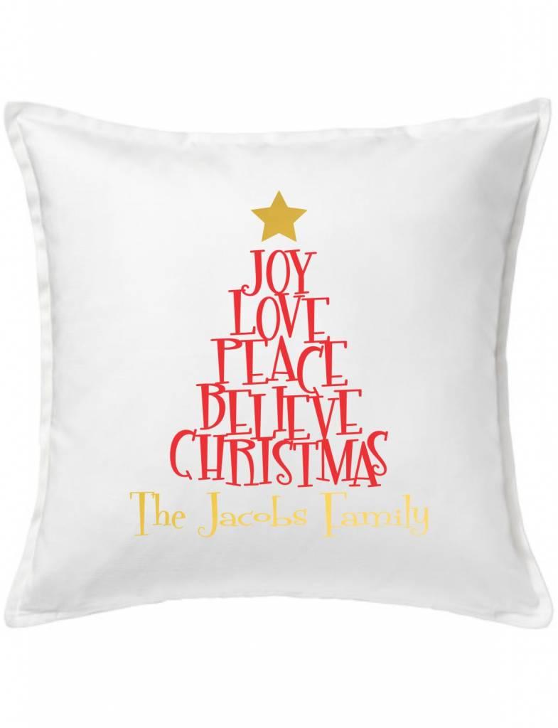 White Custom Pillow-91-Christmas Tree of Words