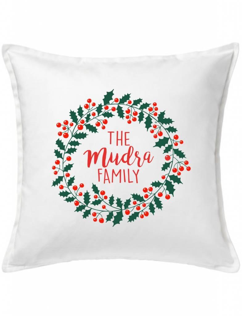 White Custom Pillow-96-Holly Day Wreath
