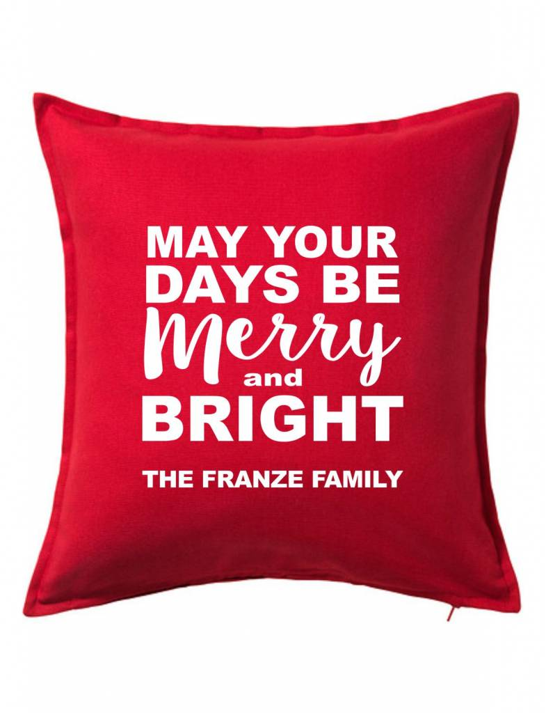 Red Custom Pillow-101B-May Your Days Be Merry