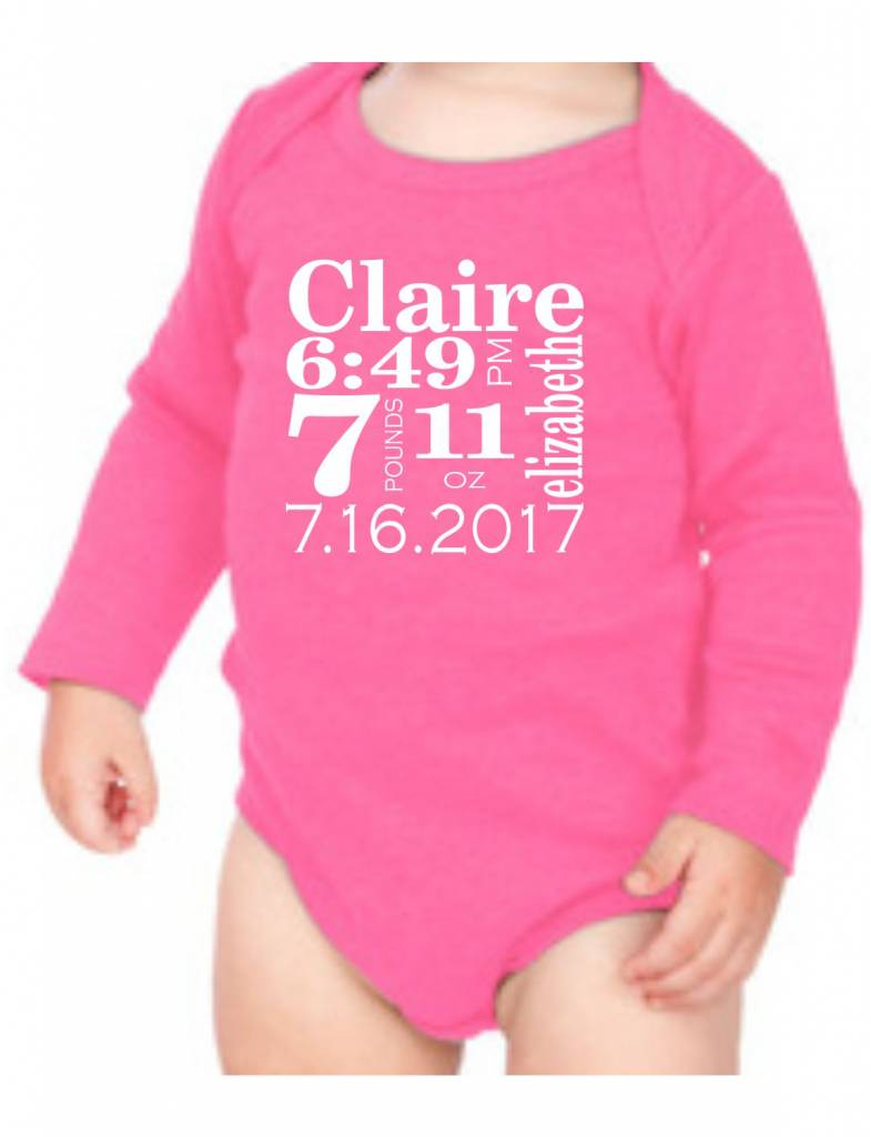 #634 Infant Long Sleeve Onesie-KID7B-Traditional Announcement