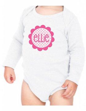 #634 Infant Long Sleeve Onesie-KID39-Polka Dot Flower