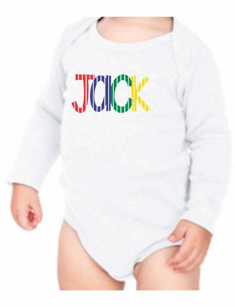 #634 Infant Long Sleeve Onesie-KID58-Striped Name