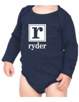 #634 Infant Long Sleeve Onesie-KID62-Square Initial