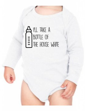 #634 Infant Long Sleeve Onesie-KID117-House White