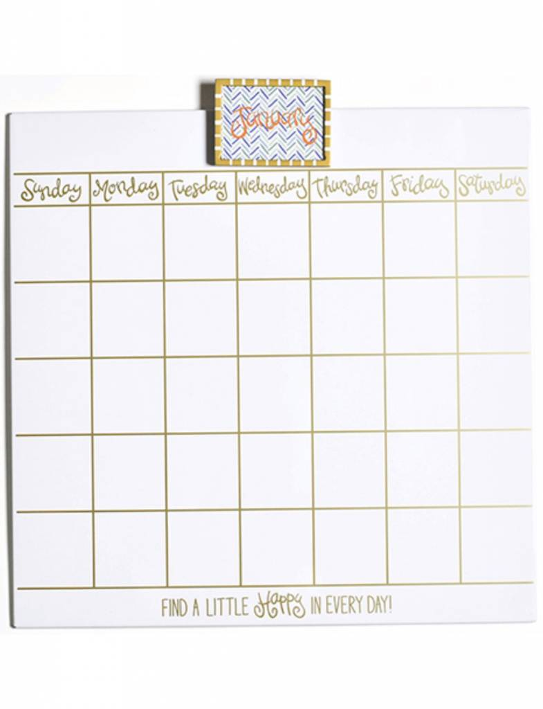 """Happy Everything Magnetic Dry Erase 18"""" Wall Calendar with Frame Attachment/Month Inserts"""