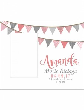 Custom Frame-KDF22-Pink Flag Banner Birth Announcement