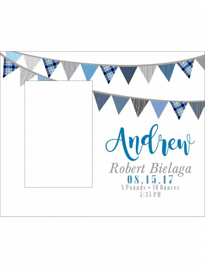 Custom Frame-KDF23-Blue Flag Banner Birth Announcement