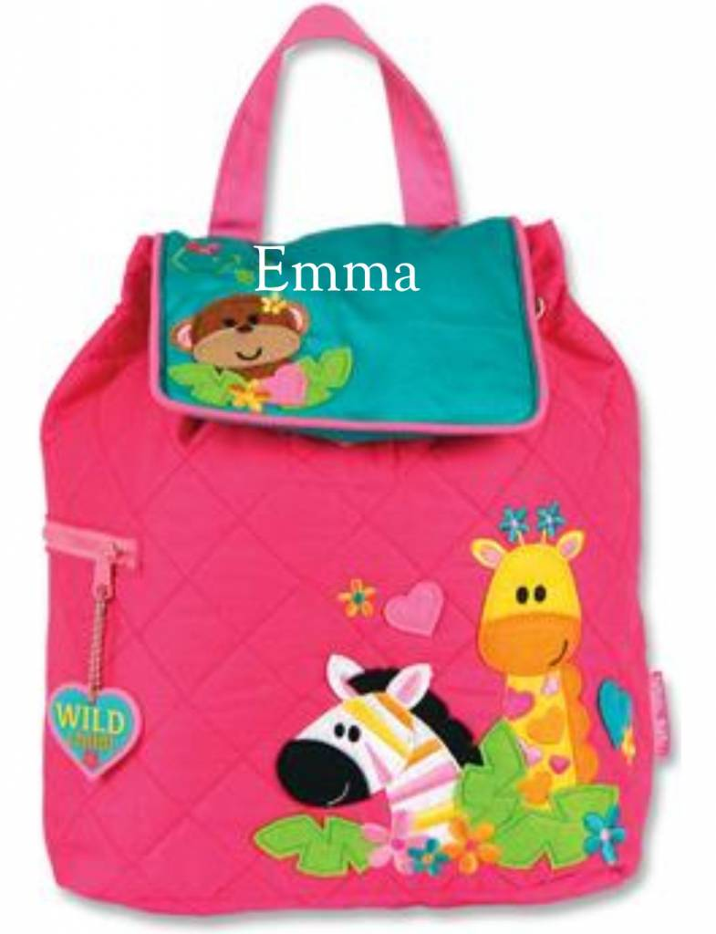 Quilted Backpack Girl Zoo Embroidered