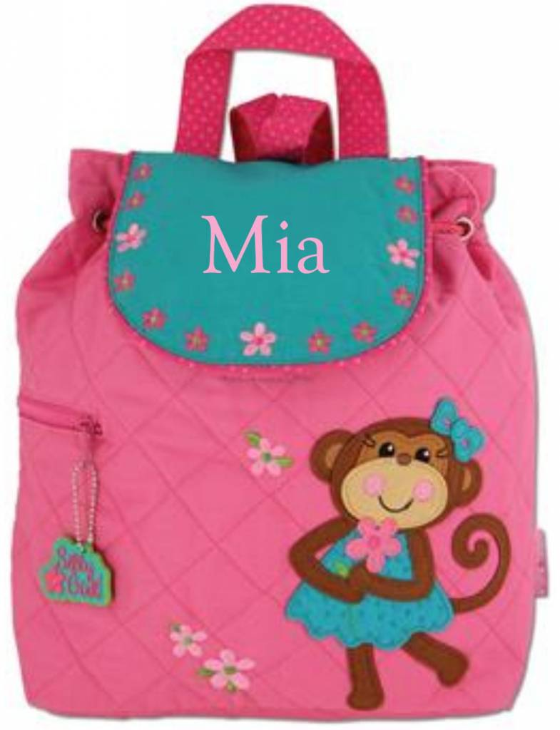 Quilted Backpack Girl Monkey Embroidered