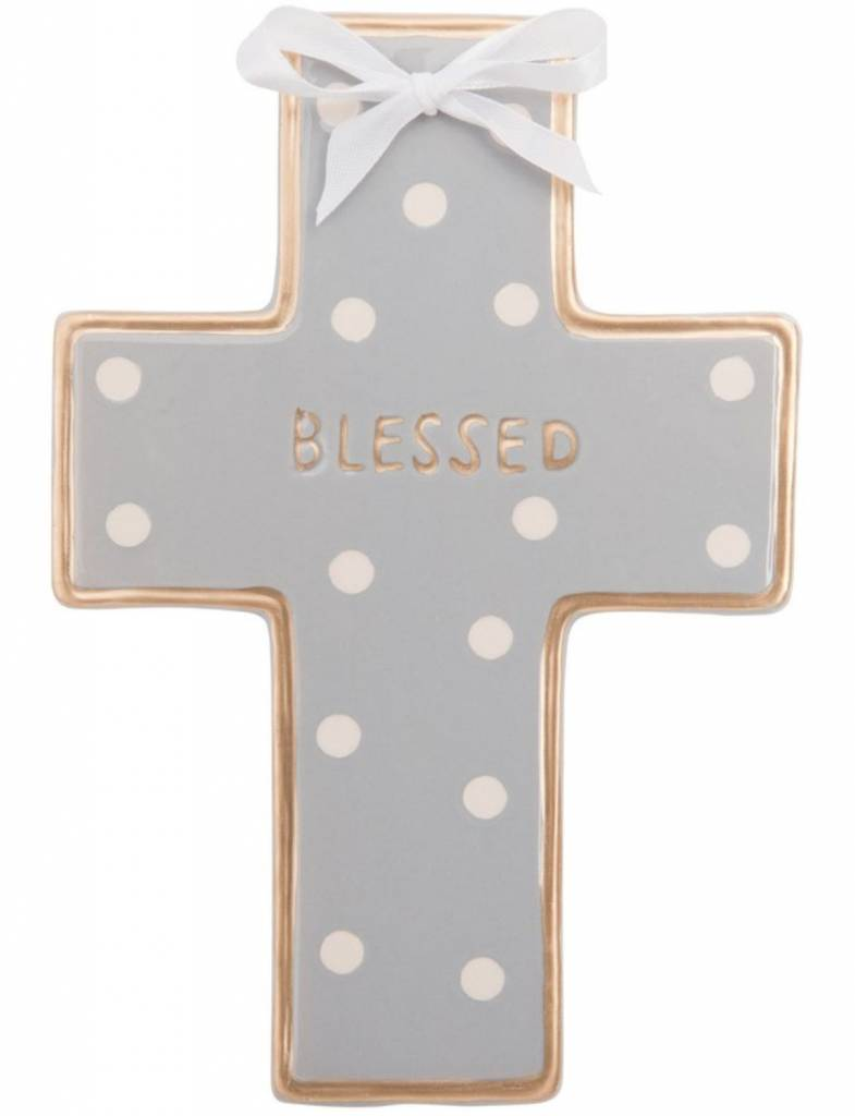 Gray Dot Ceramic Cross, Personalized