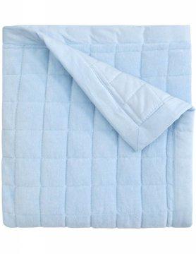 Blue Velour Quilt Blanket, Embroidered