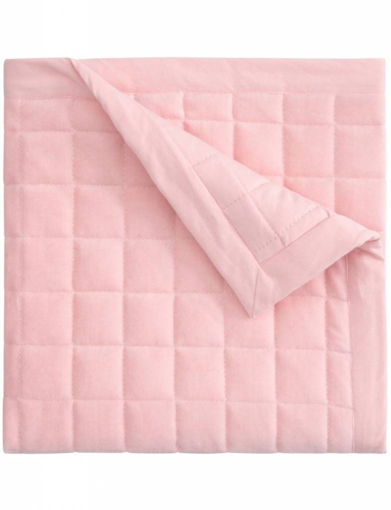Pink Velour Quilt Blanket, Embroidered