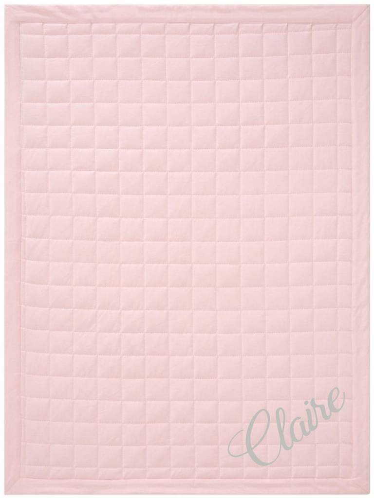 Pink Velour Quilt Blanket, Embroidered
