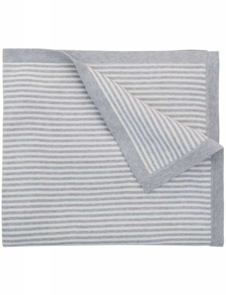 Gray Striped Knit Blanket