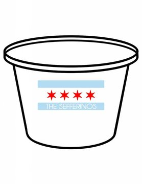 Acrylic Party Bucket-ACR 58-Chicago Flag Family