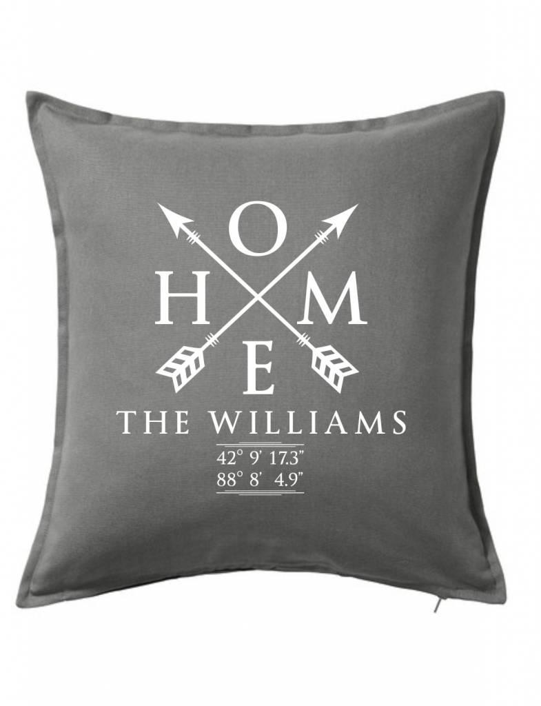 Gray Custom Pillow-28B-Home Sweet Family