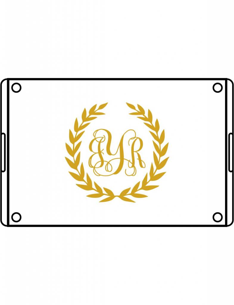 Acrylic Large Rectangular Tray-ACR1-Laurel Wreath Monogram