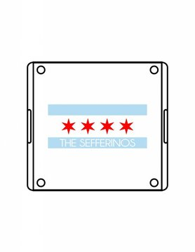 Acrylic Square Tray-ACR58-Chicago Flag Family