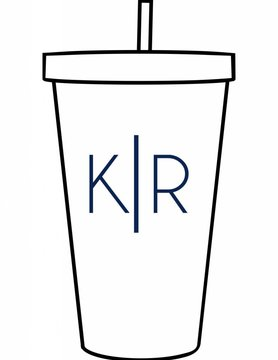 Custom Acrylic Tumbler-ACR72-Simple Initials